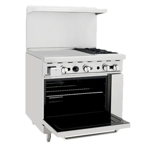 "Atosa  36"" Gas Range 24"" Griddle 2 Burners ATO-24G2B"