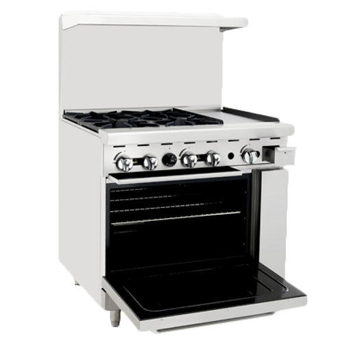 "Atosa 36"" ATO-4B12G Gas Range 4 Burners with 12"" Griddle on Right"