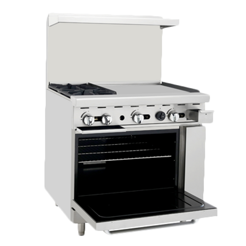 "Atosa 36"" ATO-2B24G Gas Range 2 Burners with 24"" Griddle on Right"