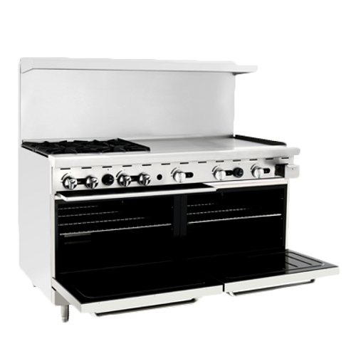 """Atosa 60"""" Gas Range ATO-4B36G 4 Burners 36"""" Griddle on Right"""