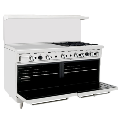"Atosa 60"" Gas Range ATO-36G4B 4 Burners 36"" Griddle on Left with Free Gift Card"