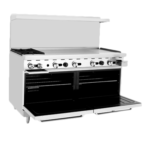 """Atosa 60""""  Gas Range ATO-2B48G 2 Burners 48"""" Griddle on Right"""