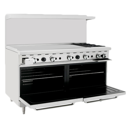 "Atosa 60"" Gas Range ATO-48G2B 2 Burners 48"" Griddle on Left"