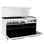 "Atosa 60"" Gas Range ATO-6B24G 6 Burners 24"" Griddle on Right with Free Gift Card"