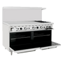 "Atosa 60"" Gas Range ATO-48G2B 2 Burners 48"" Griddle on Left with Free Gift Card"