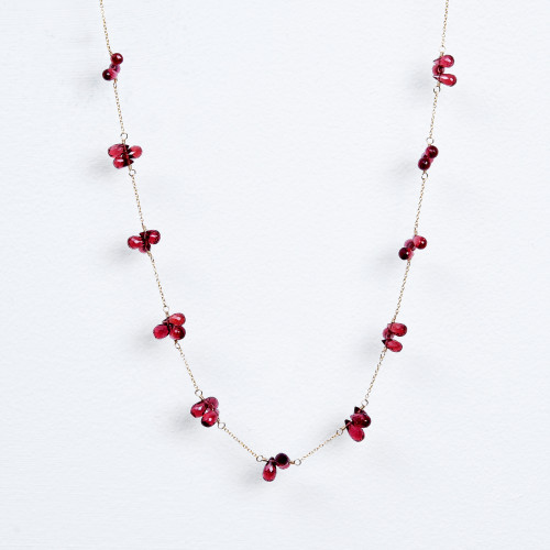 Triple garnet teardrop necklace