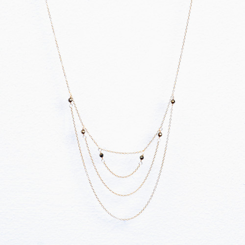 pyrite layered three chain necklace
