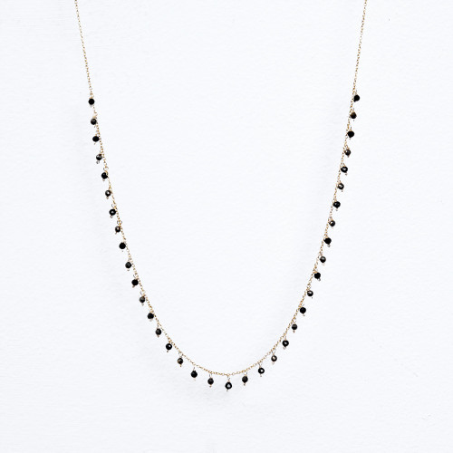 black spinel dangle necklace