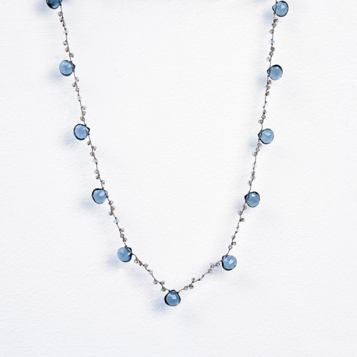 London blue quartz, labradorite & blue topaz on cord necklace