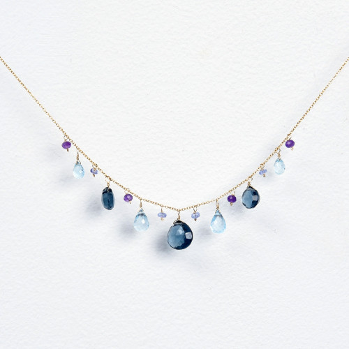 London blue quartz, blue topaz, tanzanite & amethyst necklace