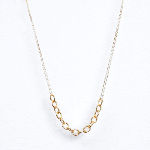 gold fill rope & double chain necklace