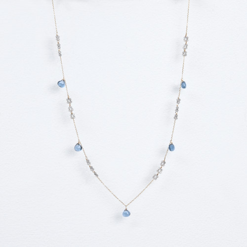 labradorite blossoms, london blue quartz necklace