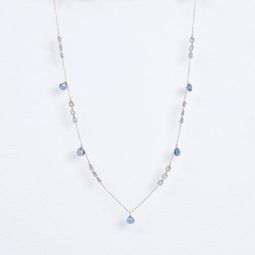 labradorite blossoms, london blue quartz necklace