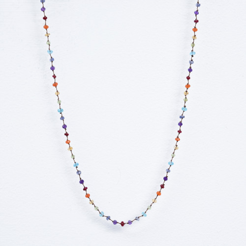 multi ruby on cord necklace