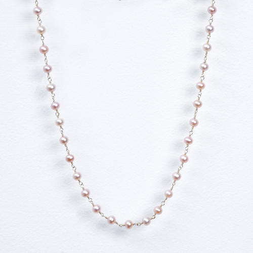 pink pearl wrap necklace
