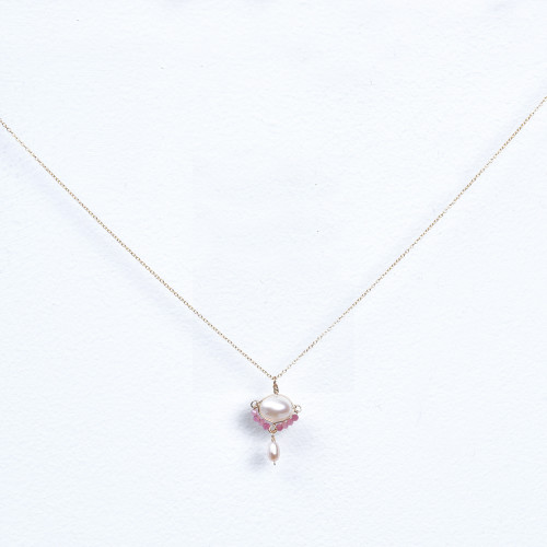 pink wrapped pearl pendant