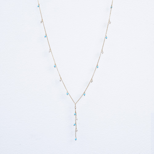"turquoise & white pearl ""y"""