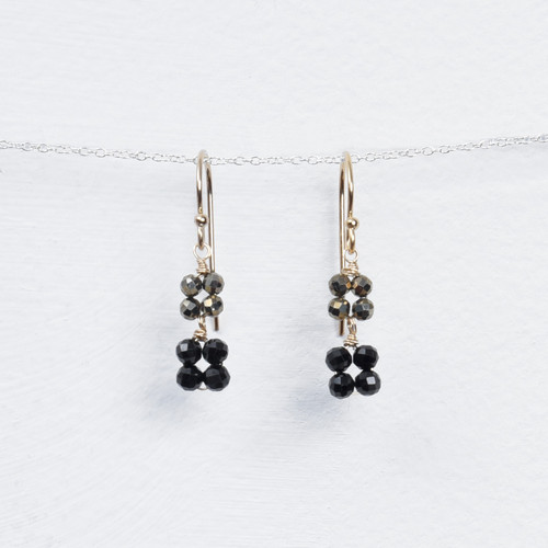 pyrite & black double blossom drop earring