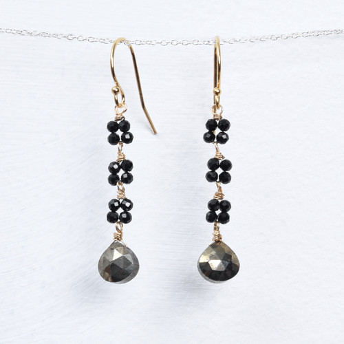 Long black spinel triple blossom with pyrite briolette earring