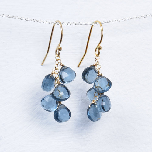 london blue quartz 5 briolette earrings