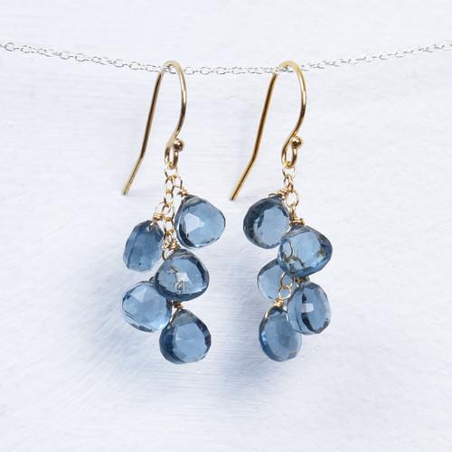 london blue quartz 5 briolette earrings