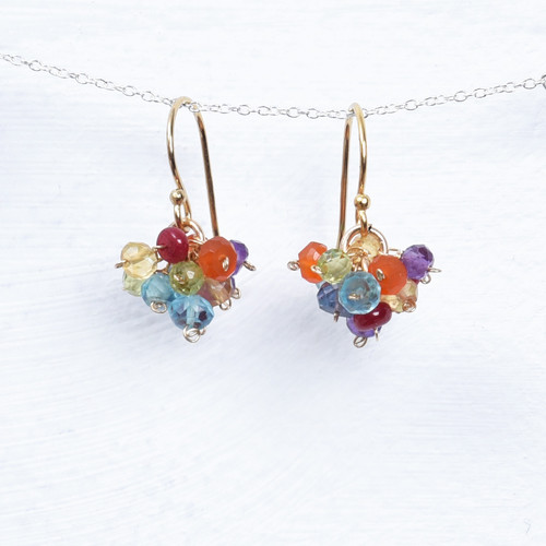 multi ruby gemstone cluster earrings