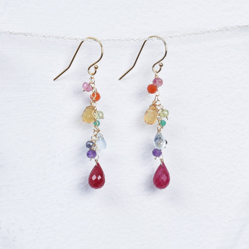 multi gemstone/ruby earrings