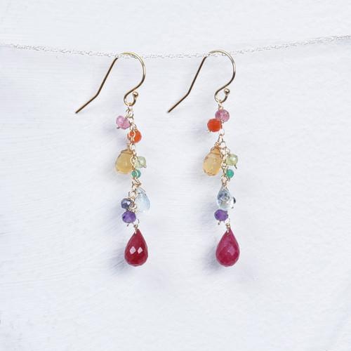 multi gemstone/ruby earrings
