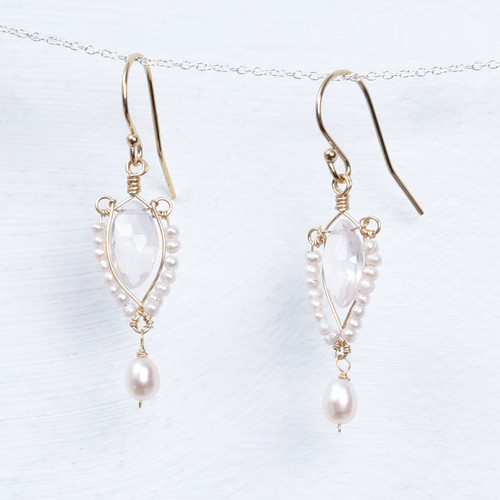 rose quartz pearl wrap earring