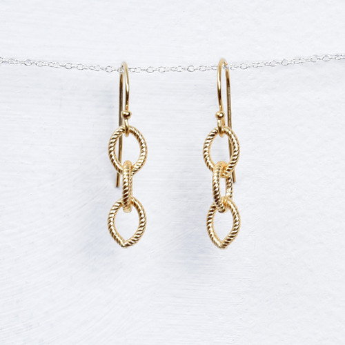 gold fill 3 link chain earring