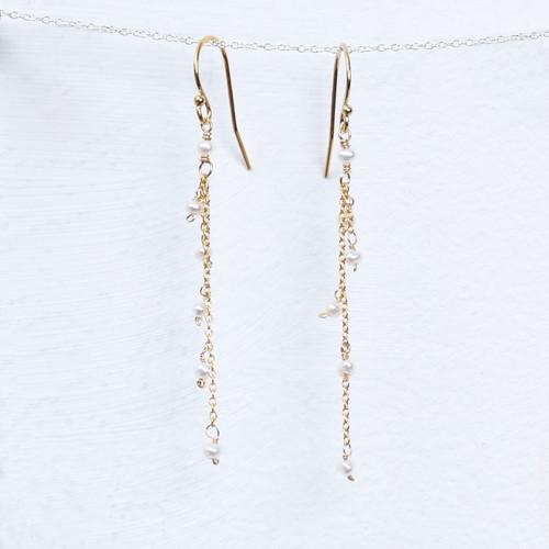 long pearl chain earring