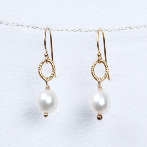 pearl/gold fill drop earring
