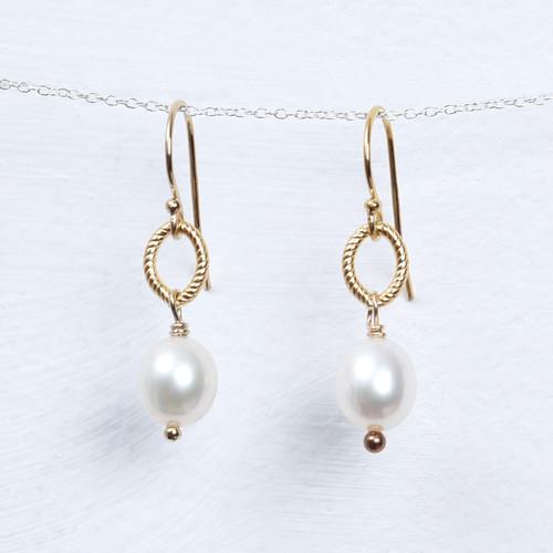 pearl/gold fill drop earring
