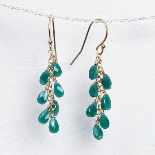 long green onyx briolette earrings