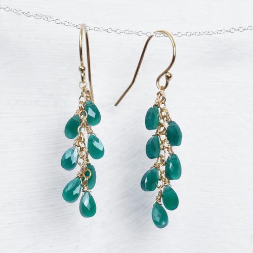 long green onyx briolette earrings