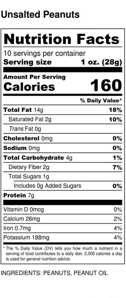 Unsalted Virginia peanuts  nutritional information for 10 oz. tin.