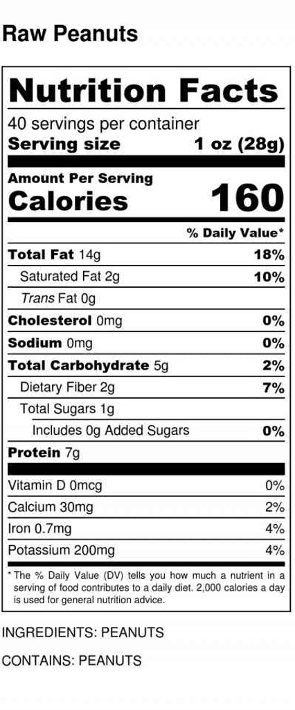 Raw peanuts nutrition lable