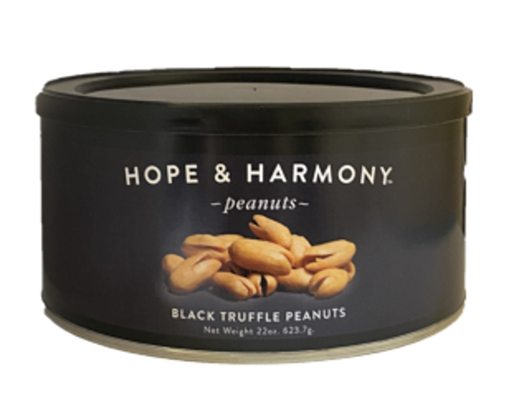 Our Black Truffle peanuts are made from gourmet Italian black truffles and extra large Virginia peanuts. The truffles add a touch of  luxury taste and aroma. These peanuts are excellent as a delicious snack or appetizer.    A new experience for your palate, perfectly roasted Virginia peanuts and a small part of black truffle and sea salt sprinkled on top. This really is the ultimate Truffle peanut.  Quality • Tradition • Goodness