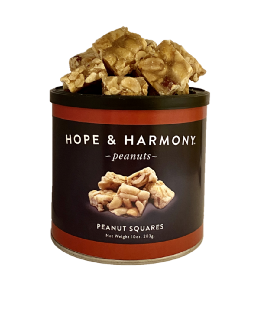 These delicious chunky squares are chockfull of peanuts coated in tantalizing sweetness. You'll agree that these treats prove it is hip to be square!  Quality • Tradition • Goodness