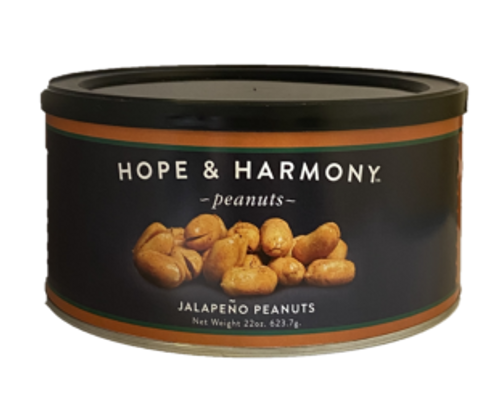 Bring the Southwest to your home with our Jalapeno peanuts! With the zesty spice of roasted garlic, seared onions, and jalapeno peppers, each mouth-watering bite delivers an explosion of flavors.  Quality • Tradition • Goodness