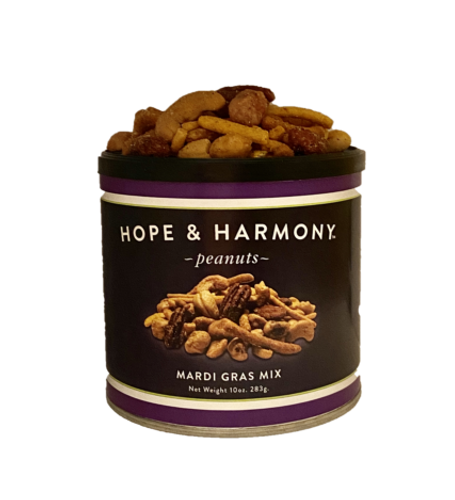 A zesty snack mix featuring a spicy combination of pecans, almonds, cashews, peanuts, sesame sticks, cheddar sticks, and toffee coated peanuts. The secret seasoning adds a little heat and a kick that no one can resist!