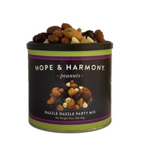 Razzle Dazzle Party Mix is a special blend of Honey Roasted Peanuts, Milk Chocolate Covered Raisins, Salted Cashews, Craisins, Peanut Butter Chips and White Chocolate Chips. Delight your guests and surprise generous hosts with a treat unlike anything else! It's so delicious though, you might have trouble sharing… don't say we didn't warn you!