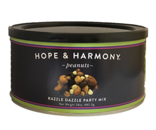 Don't bring just any mix to the party! Bring something fun and original, like Plantation Peanut's very own Razzle Dazzle Party Mix- a special blend of Honey Roasted Peanuts, Milk Chocolate Covered Raisins, Salted Cashews, Craisins, Peanut Butter Chips and White Chocolate Chips. Delight your guests and surprise generous hosts with a treat unlike anything else! It's so delicious though, you might have trouble sharing… don't say we didn't warn you!  Quality • Tradition • Goodness