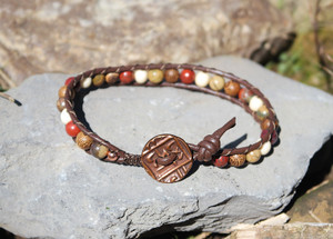 Red Creek Jasper, natural wood and bone beads. Fits 7 3/4 inch for wrist or ankle wear. Versatile enough to be worn by men and women