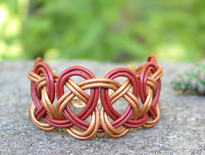 Brick Red  & Metallic Gold Double Coin Knot