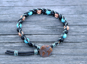 Onyx and Turquoise Magnesite black leather bracelet