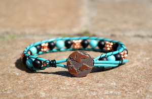 Turquoise leather and Onyx bead bracelet