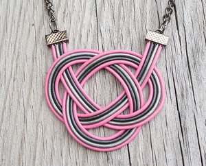 Pink and Gray Double Coin Knot Necklace