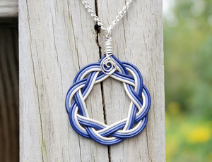 Violet, Light Violet and White Celtic Circle Necklace