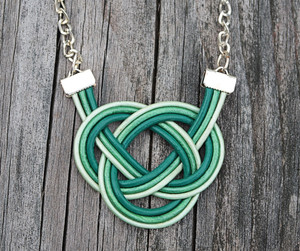 Three Shades of Green Double Coin Knot necklace